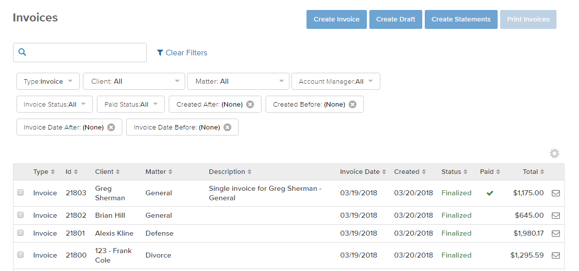 invoicing dashboard find invoice bill4time support